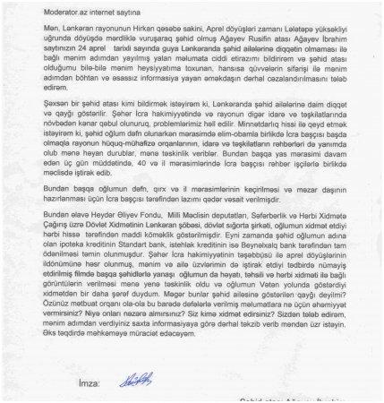 Şəhid atasından müraciət